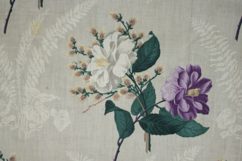 Antique French 1860 printed chintz cotton panel fabric large scale purple floral