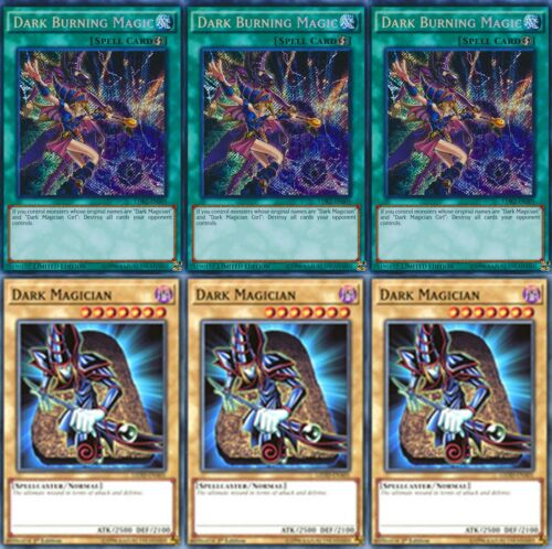 3 X  Dark Magician LEDD 1st Mint YUGIOH 3 X Dark Burning Magic LDK2 Secret