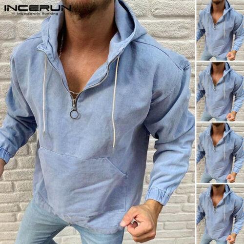 New Men/'s Denim Shirt Casual Jean Washed Zipper Hoodies Long Sleeve Shirts Tops