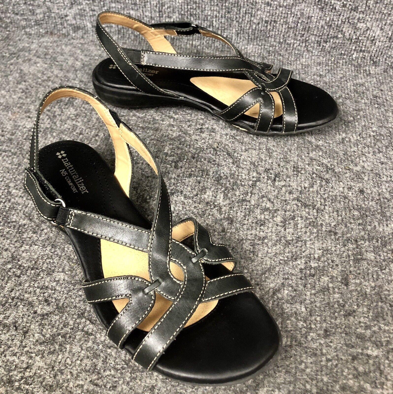 Naturalizer Cooper Black Slingback Low Wedge N5 Comfort Sandals 722 Sz 8 In EUC