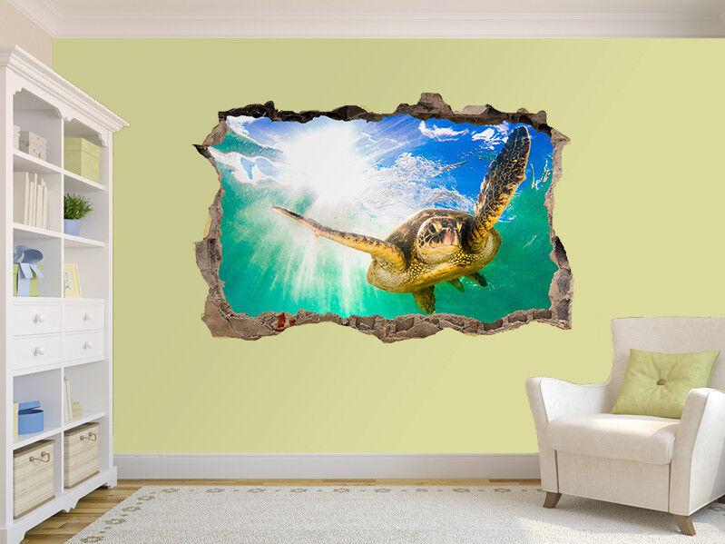 verde Tartaruga Marina Foto Buco in Adesivo da Parete Murale (50189957)