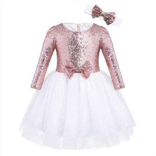 Flower Girl Tutu Dress Kids Sequin Princess Party Wedding Birthday Bow Prom Gown