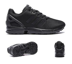 6c37a3740 Image is loading Junior-Adidas-ZX-Flux-Black-Trainers