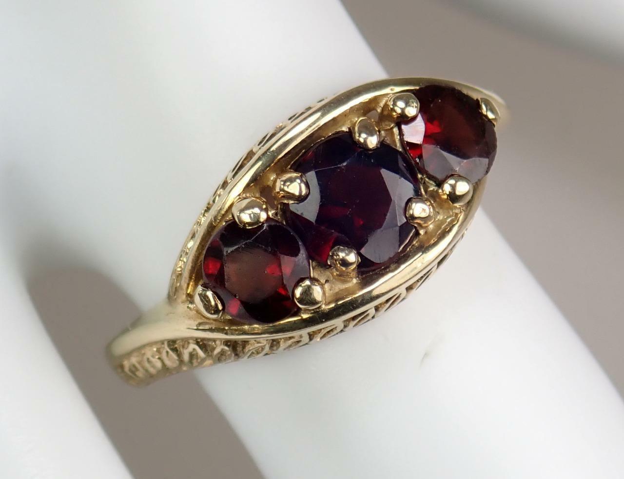 Pretty Vintage Estate 9K Gold 1.6ct Garnet Floral… - image 10