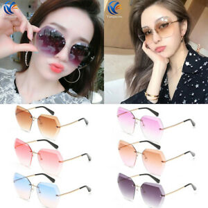 db8fabeca850 Image is loading HOT-Women-Gril-Oversized-Clear-Lens-Rimless-Sunglasses-