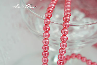 146PCS 6mm Glass Pearl Spacer Coral Pink Color Round DIY Imitation Pearl beads
