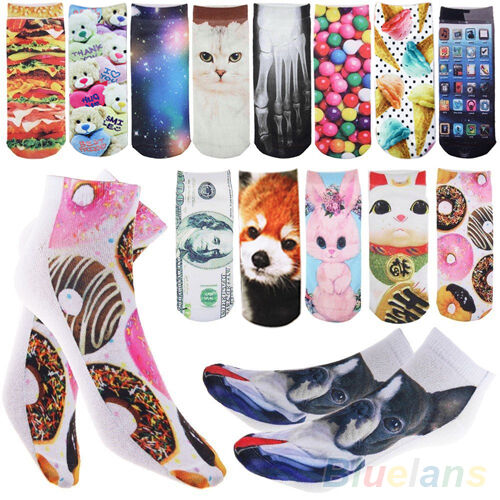 Fashion 3D Printed Unisex Men Womens Harajuku Low Cut Ankle Socks Sports Hosiery