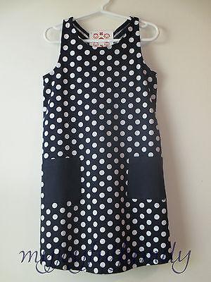 HANNA ANDERSSON Sailaway Knotback Sundress Dress Navy Blue Dot 110 5 NWT