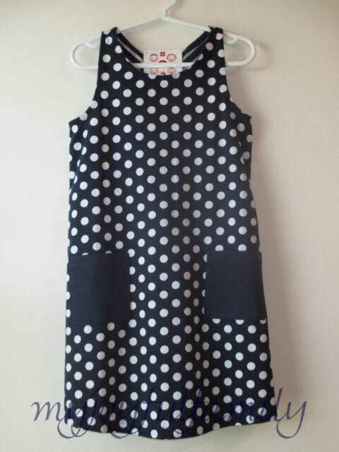 HANNA ANDERSSON Sailaway Knotback Sundress Dress Navy Blue Dot 130 8 NWT