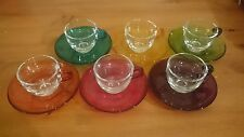 6 pasabahce coloured glass expresso cups and saucers