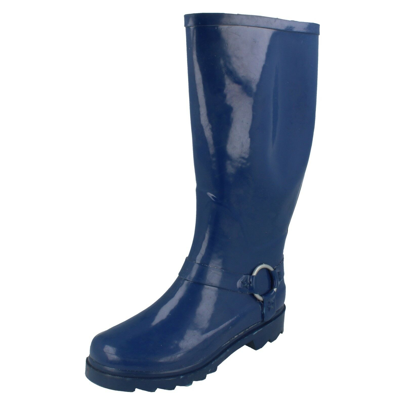 Ladies Wellington boots blue rubber with decorative heel X1031 SALE