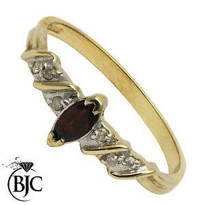 BJC-9ct-ORO-GIALLO-GRANATO-amp-diamante-solitario-Abito-MISURA-ANELLO-O-RING-R123