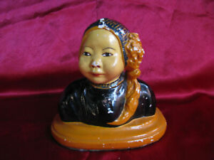 1920s-ORIENTAL-GIRL-Chalkware-Bust-JOE-CELONA-ESTHER-HUNT-style-ANTIQUE