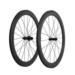 23-Wide-55mm-Straight-pull-Black-Matt-Carbon-Clincher-Wheelset-700C-Road-Bike