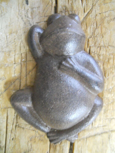Lot of 2 Cast Iron BROWN FROGS Garden Statue FROG Pool Pond Lake Home Decor TOAD