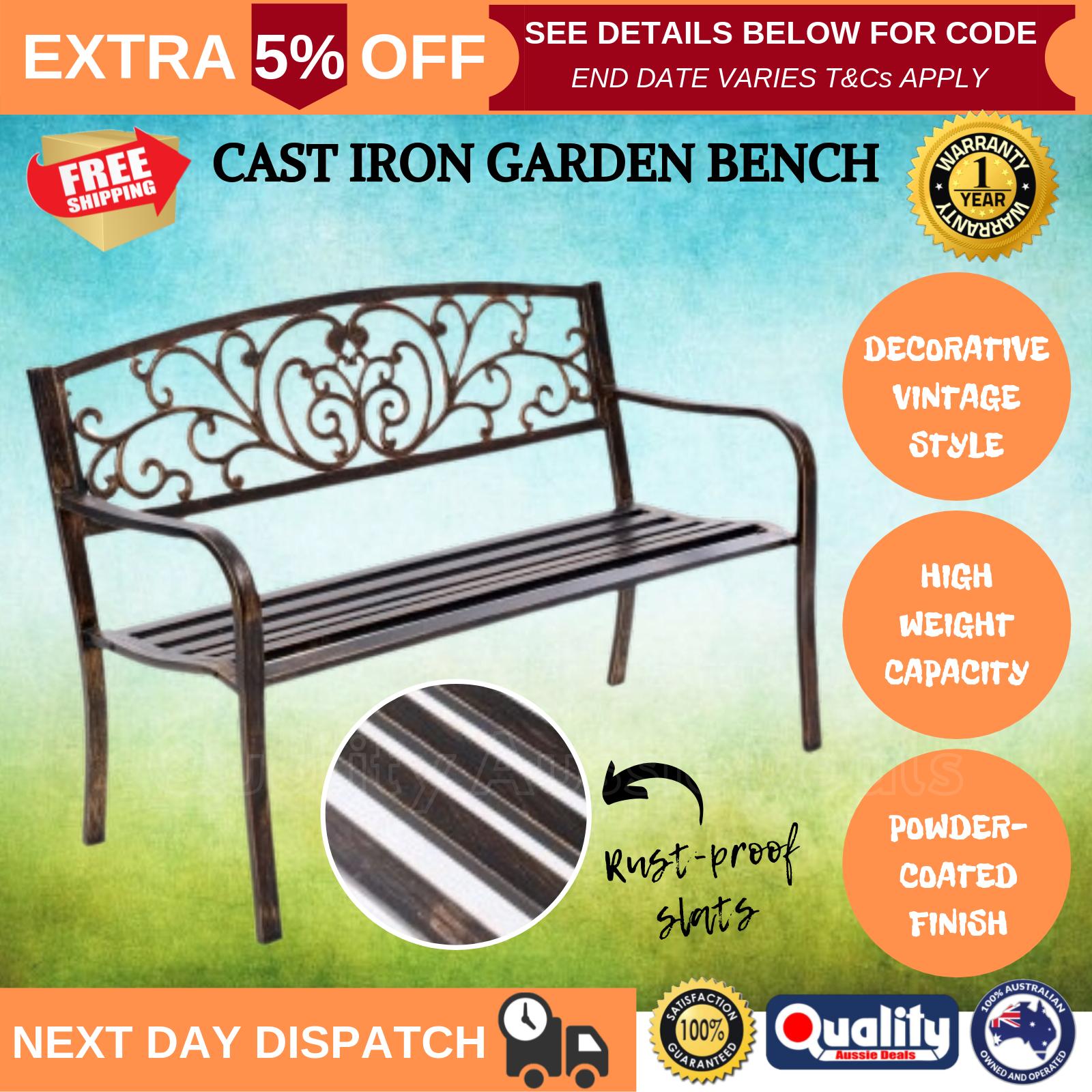 BCP 50in Outdoor Metal Patio Garden Bench Furniture Decor w// Verdi Floral Design