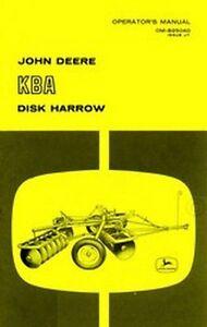 john deere kba disk harrow operators manual jd ebay rh ebay com Old John Deere Disc Harrow John Deere Harrow Tines