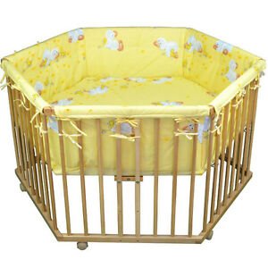 HONEY-BEE-Babylaufgitter-6-Eck-Kinder-Laufstall-Laufgitter-Babybett-Bett-NEU
