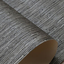 Taupe Brown on Black Plain Straw Textured Faux Grasscloth Wallpaper