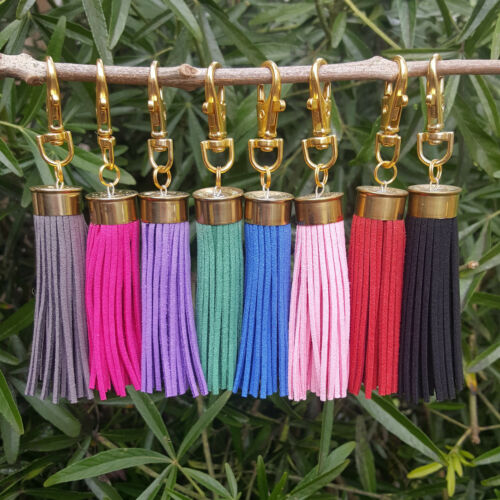 lots of colours tassel keyring 20 bore brass for boots bags and keys