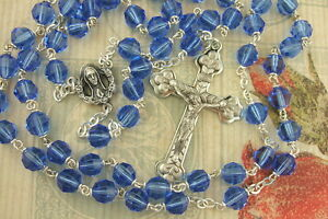 Catholic-Rosary-Sapphire-BLUE-7mm-Cut-Glass-Beads-NOS-Great-quality