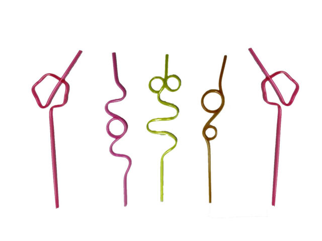 5x Crazy Straw Coloured Curly Novelty Drinking Party Bag Filler Twisty Kids Swi