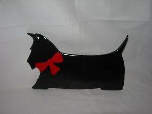 AWESOME Vtg SCOTTIE DOG Art Tile~Italy-numbered~Scottish Terrier~BLACK Scotty