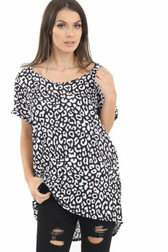 Ladies Casual Leopard Print Jerey Lightweight Baggy t-Shirt top UK Size 8-26