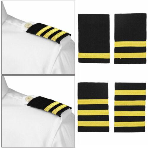 Professional Pilot Uniform Epaulets Bars Nylon 1 to 4 Gold Stripes Epaulettes