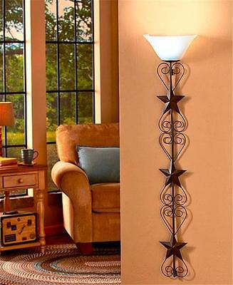 CORDLESS REMOTE CONTROL COUNTRY INSPIRED METAL STAR WALL LAMP W/WHITE SHADE LED