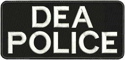 "2 POLICE embroidery patches 3x9/""  hook on back white letters"