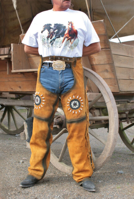 Leather Suede Chaps Cowboy roping riding brown Fringe Western Trousers