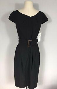 Veronika Maine Solid Black Belted Short Sleeve Shift Career Dress Women's 10