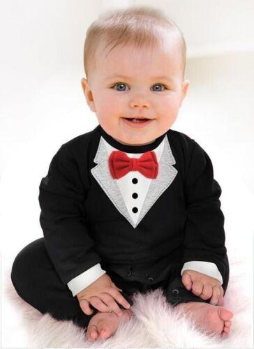 Newborn Baby Clothing Cotton Rompers Suit Baby Bow Tie Baby Gentleman Rompers