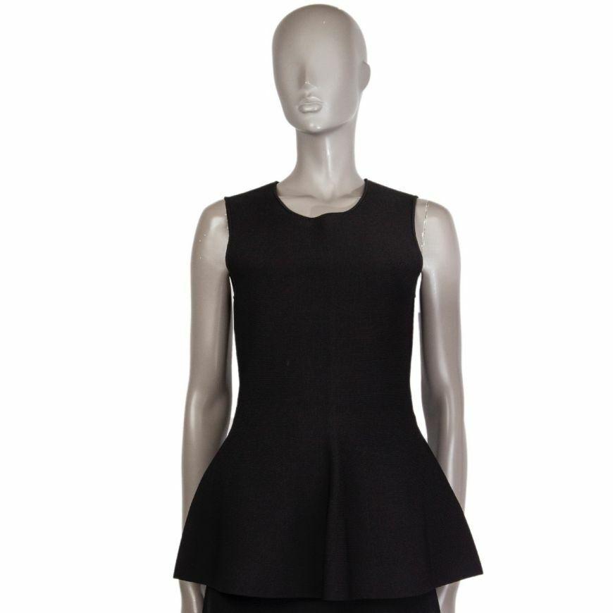57905 auth ALEXANDER WANG schwarz viscose Sleeveless Peplum Shirt L