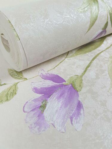 Violet Crème Floral Papier Peint Rose Vert estampé pré collé Vinyle Norwall