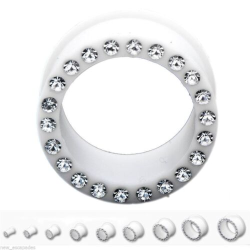 PAIR-Flexi White w//Clear Gems Double Flare Silicone Ear Tunnels 10mm//00 Gauge Bo