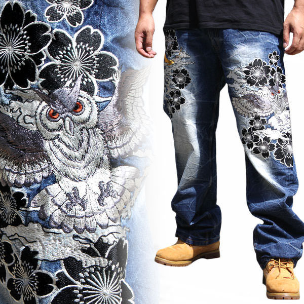 Mens Embroidery Jeans Straight Trousers Denim Limited Japanese Pattern Totem Owl