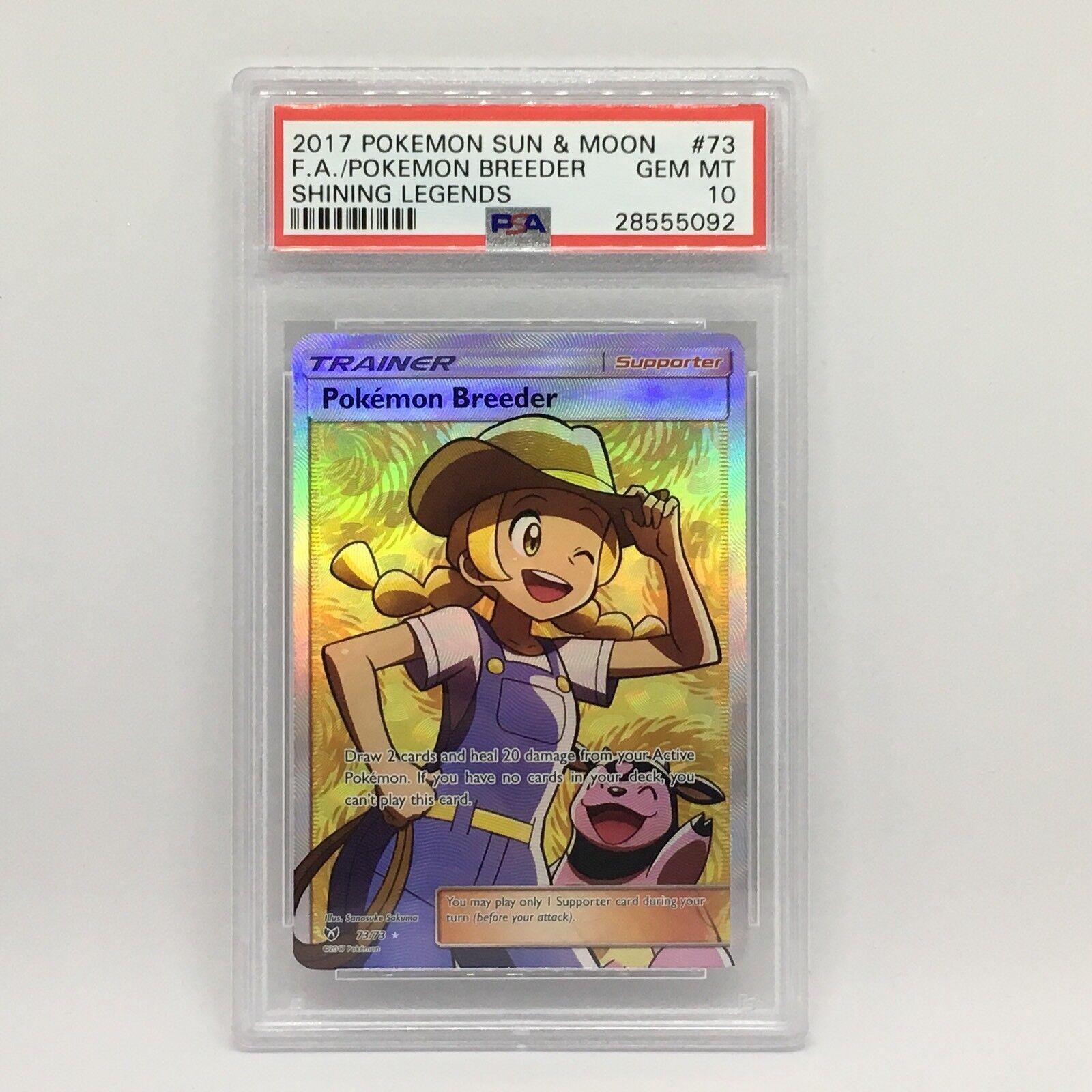 PSA 10 Pokemon Breeder Full Art Pokemon Sun & Moon Shining Legends Card