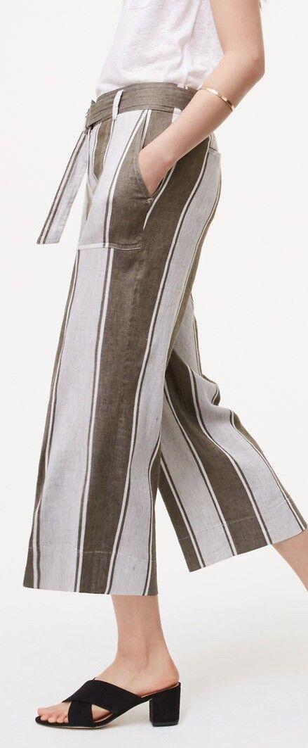 Ann Taylor LOFT Stripe Belted Culottes Pants Size X-Large Dark Eucalyptus Leaf