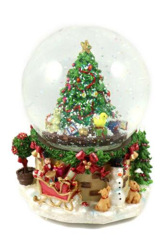0900020 Schneekugel // Spieluhr mit Weihnachtsbaum Schneeantrieb zum Aufziehen