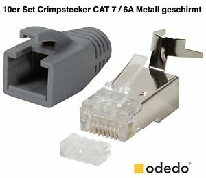 odedo 10er pack netzwerkstecker cat 7 7a 6a h lle crimp stecker rj45 ebay. Black Bedroom Furniture Sets. Home Design Ideas