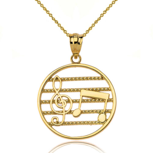 10k Yellow Gold Music Staff Treble Clef Two Eighth Notes Open Pendant Necklace