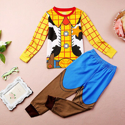 Sheriff Woody Costume Baby Kids Boys Nightwear Sleepwear Pyjamas sets 1~7Y