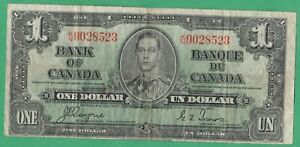 1937-Bank-Of-Canada-1-Dollar-Bill-Coyne-Towers-Circulated-Condition