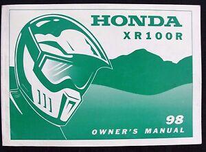 GENUINE-1998-HONDA-100-XR100R-DIRT-BIKE-MOTORCYCLE-OPERATORS-MANUAL-VERY-GOOD