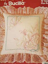 """Candlewicking Trapunto Butterfly & Blossoms Bucilla Embroidery Kit 12"""" Square"""