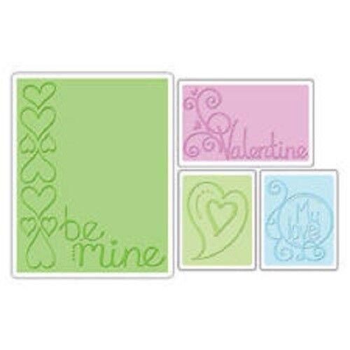 Sizzix Impresiones texturadas 4 X las carpetas de grabado Valentine Set Be Mine 655844