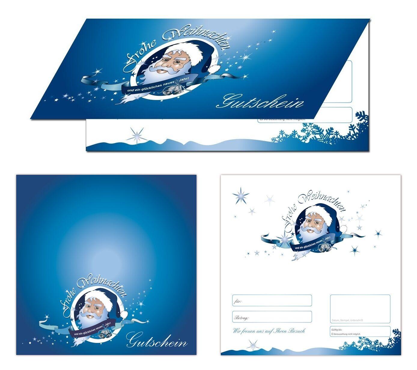 200 x Premium Geschenkgutscheine blau Klappkarten Weihnachten Weihnachtsmann | Grüne, neue Technologie