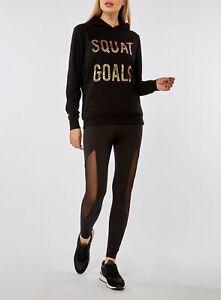 Dorothy-Perkins-Black-Squat-Goals-Motif-Hoodie-UK-Size-16-VR205-023